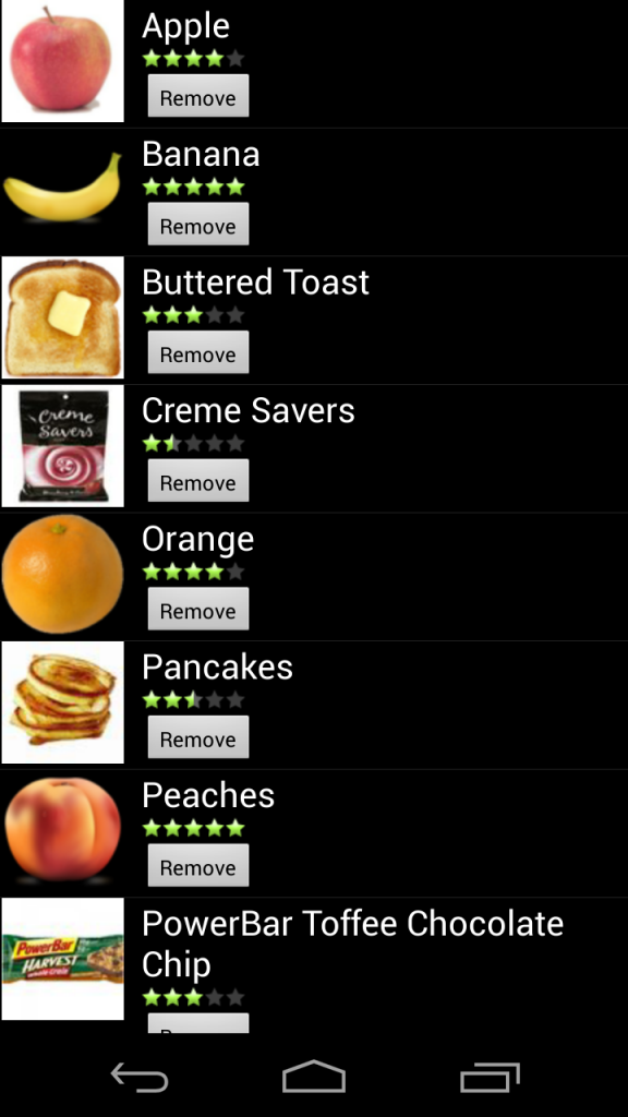 Informational interface - Snack suggestions