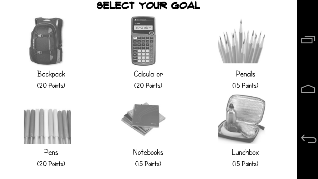 Gaming Interface - Game goal setting